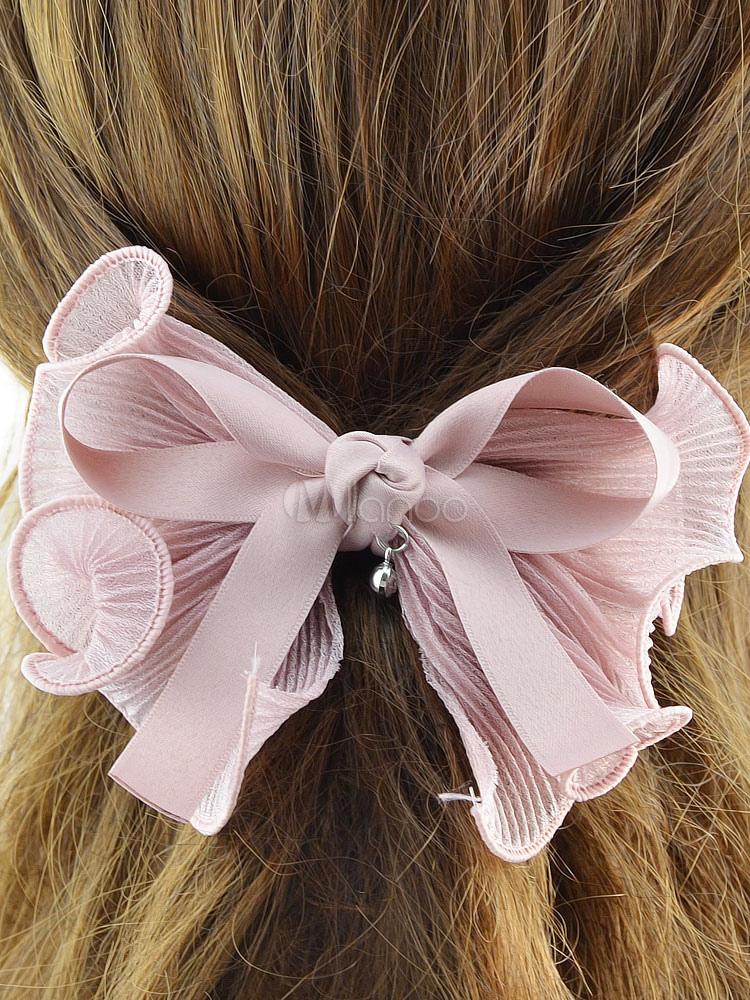 Bow Hair Clips Pink Women's Ribbon Ruffles Headpieces Cheap clothes, free shipping worldwide