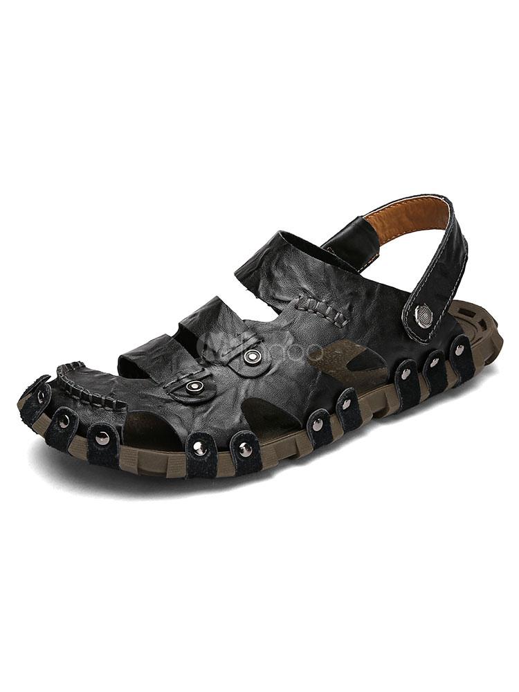 a618d25dba ... Couro sandálias de fechado Toe Cut Out Slingback metálico detalhe praia  sandália sapatos masculino-No ...