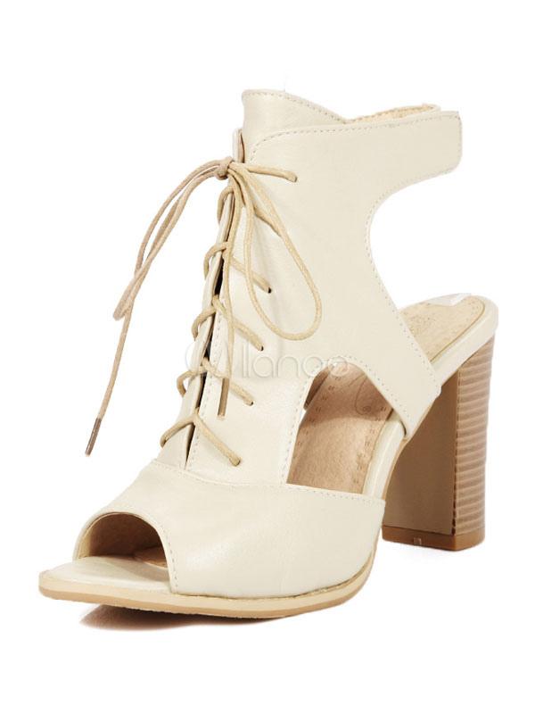 Zapatos estilo moderno de PU de punter Peep Toe de tacón gordo Verano estilo street wear zJT9x9MIh