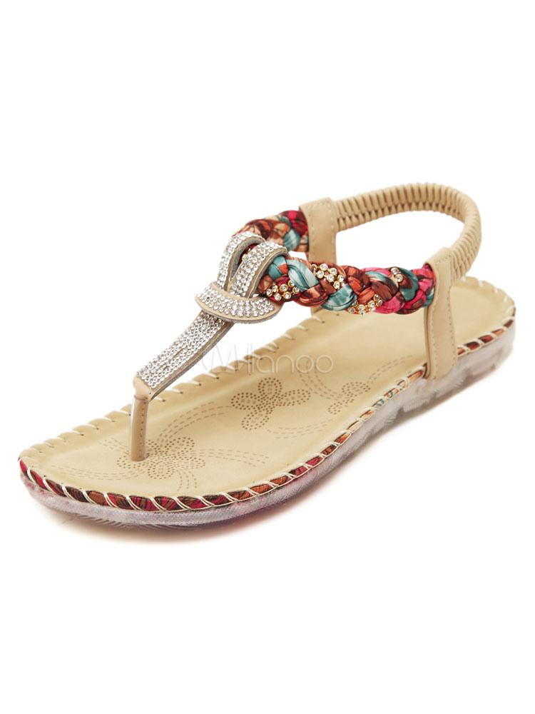 8abfb550c4b4 Boho Flat Sandals Women s Rhinestones Beaded T Type Beach Sandal Shoes-No.  ...