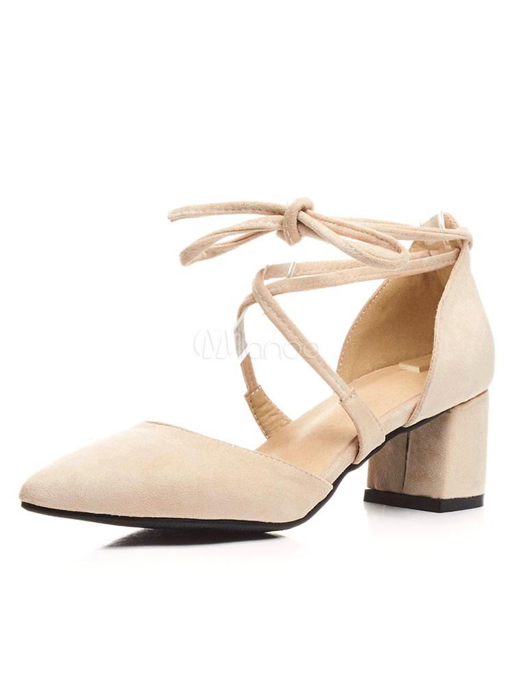 Zapatos de tacón medio de puntera puntiaguada de tacón gordo para baile de PU NW1lX5