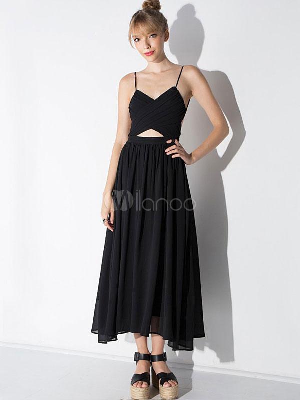 ... Vestito lungo nero di poliestere bretelle smanicato con annodature  scollato sulla schieno per ragazze -No ... 4e31c40184e