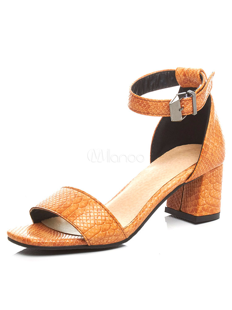 0725df6e0333 Yellow Sandal Shoes Chunky Heel Two Part Ankle Strap Block Heel Sandals-No.1  ...