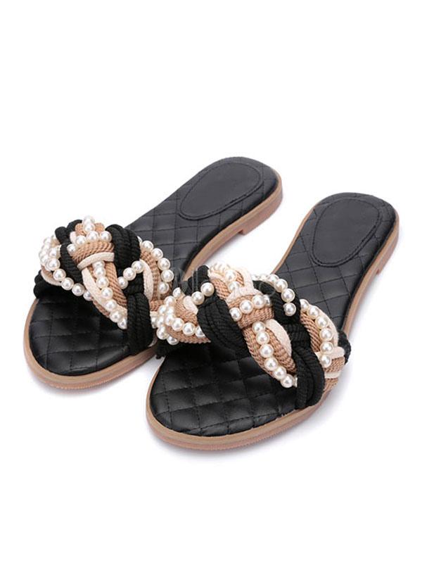 caea5f178a7 Black Sandal Slippers Women s Pearls Beaded Slip On Flat Slippers-No. ...