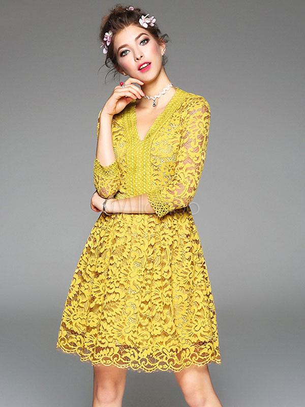 fbdcf5650a0ef ... Robe dentelle jaune robe V Manche 3/4 longueur manches Slim Fit Skater  pour femmes ...