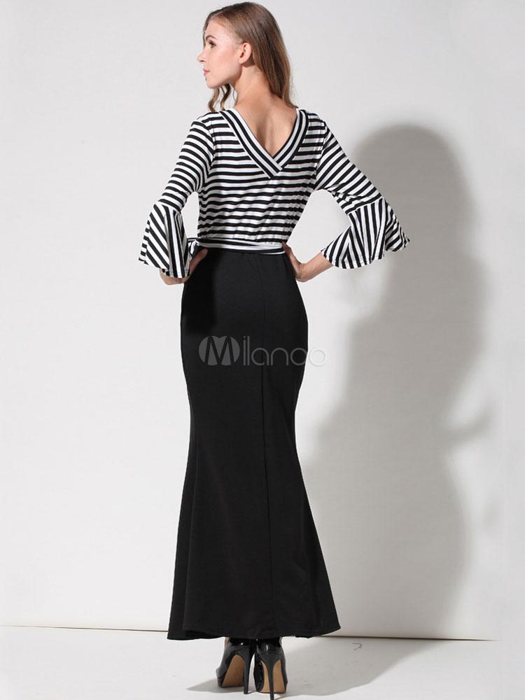 Milanoo / Mermaid Maxi Dress Black V Neck Striped Women's Bell Sleeve Long Dress
