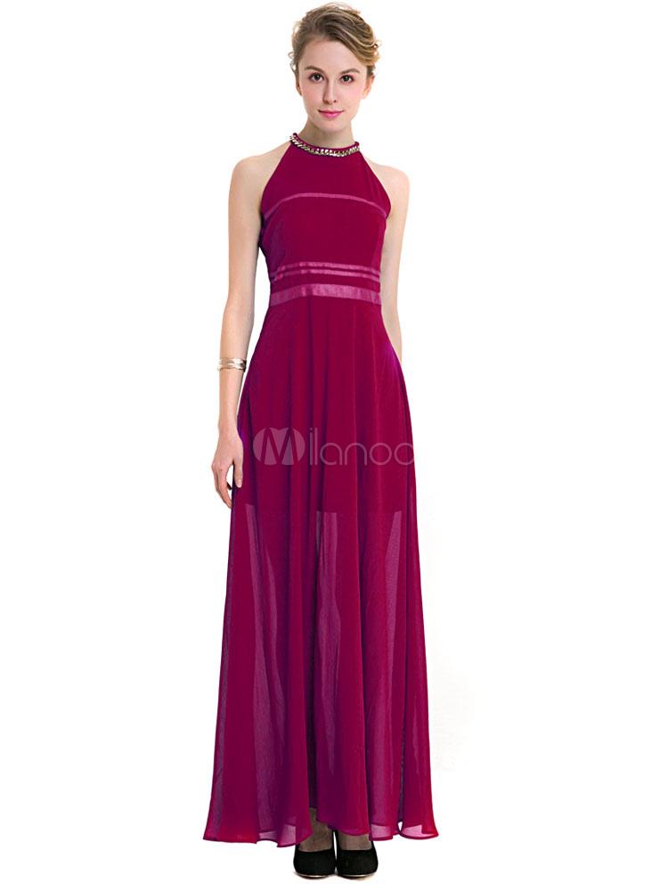 Milanoo / Burgundy Maxi Dress Chiffon Crew Neck Sleeveless Pleated Slim Fit Long Dress For Women