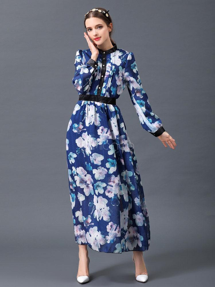 d56061867b12 Women's Maxi Dress Deep Blue Stand Collar Long Sleeve Floral Printed Long  ...