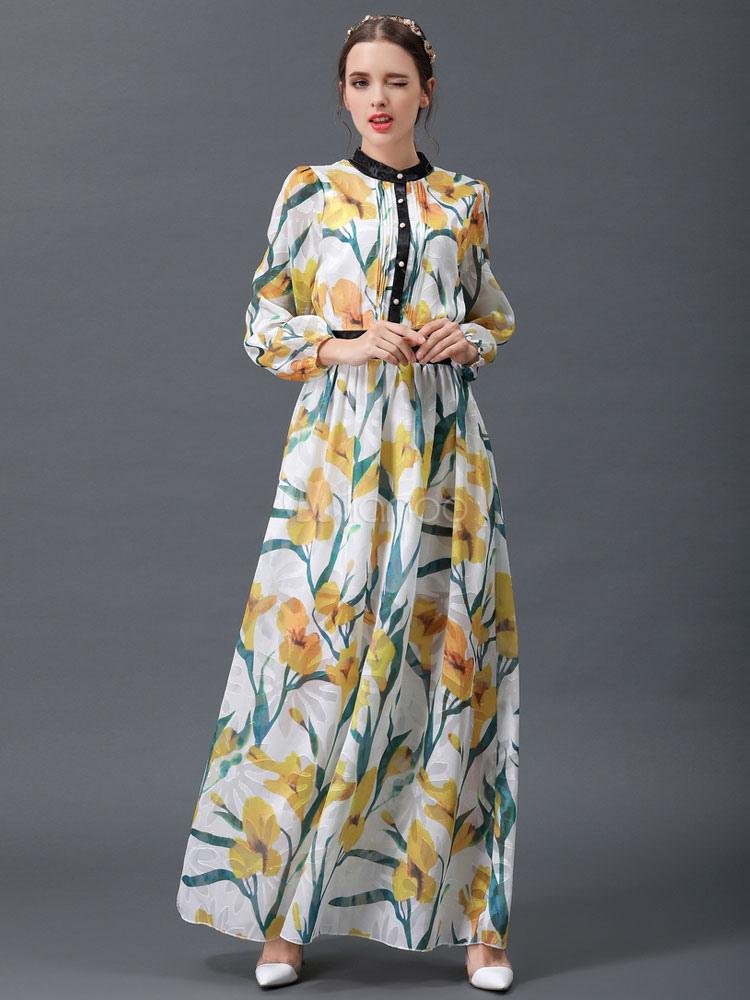 8b61f634a150 Vestito lungo giallo in chiffon con colletto alla coreana maniche lunghe  con stampe modellante con stampe ...