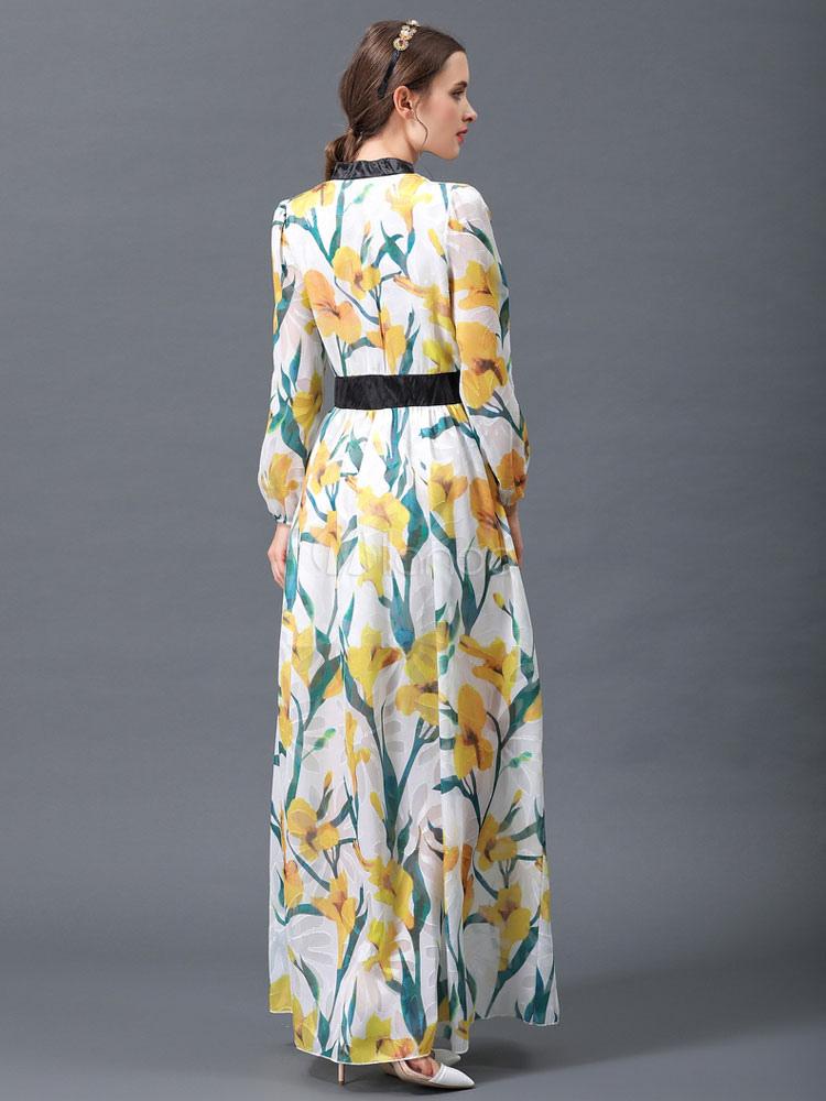 455729b1624e ... Vestito lungo giallo in chiffon con colletto alla coreana maniche  lunghe con stampe modellante con stampe