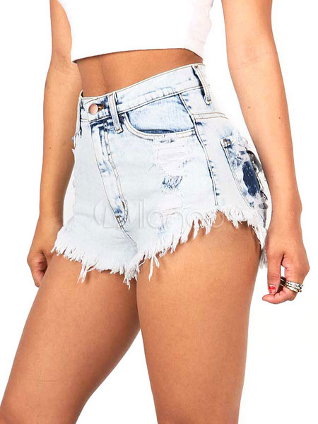 Women's Burrs Shorts Light Blue Fringes Distressed Straight Leg Ripped Denim Shorts Cheap clothes, free shipping worldwide