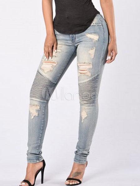 Pantalones Vaqueros De Mujer 2021 Diseno Hueco Azul Ligero Pantalones Denim Entallados Milanoo Com