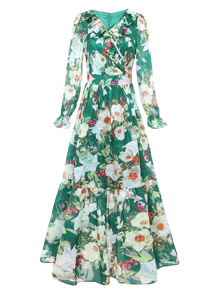ruffles t longue robe maxi robe fleurs manches longues vert f minin. Black Bedroom Furniture Sets. Home Design Ideas