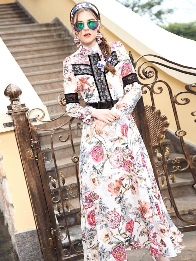 c6b75807f2 Gola alta seda vestido Maxi floral manga longa feminino impresso vestido  longo festa-No.