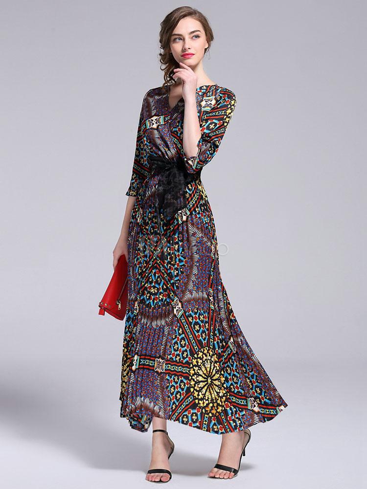 9bc637144 ... Vestito lungo manica 3/4 estate floreale V collo donna -No.2 ...