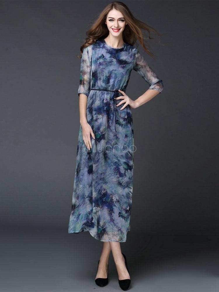 3dd0a9ca5 Ilusão vestido de festa feminino aquarela de meia manga gola redonda azul  impresso vestido longo com ...