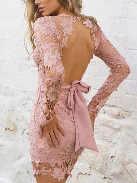 V-Neck Bodycon Lace Dress