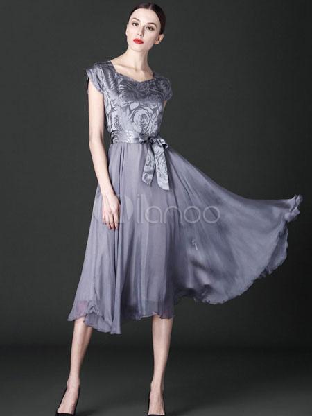 Chiffon Skater Dress Women's Silver Gray Bow Sash Short Sleeve Summer Dress Cheap clothes, free shipping worldwide