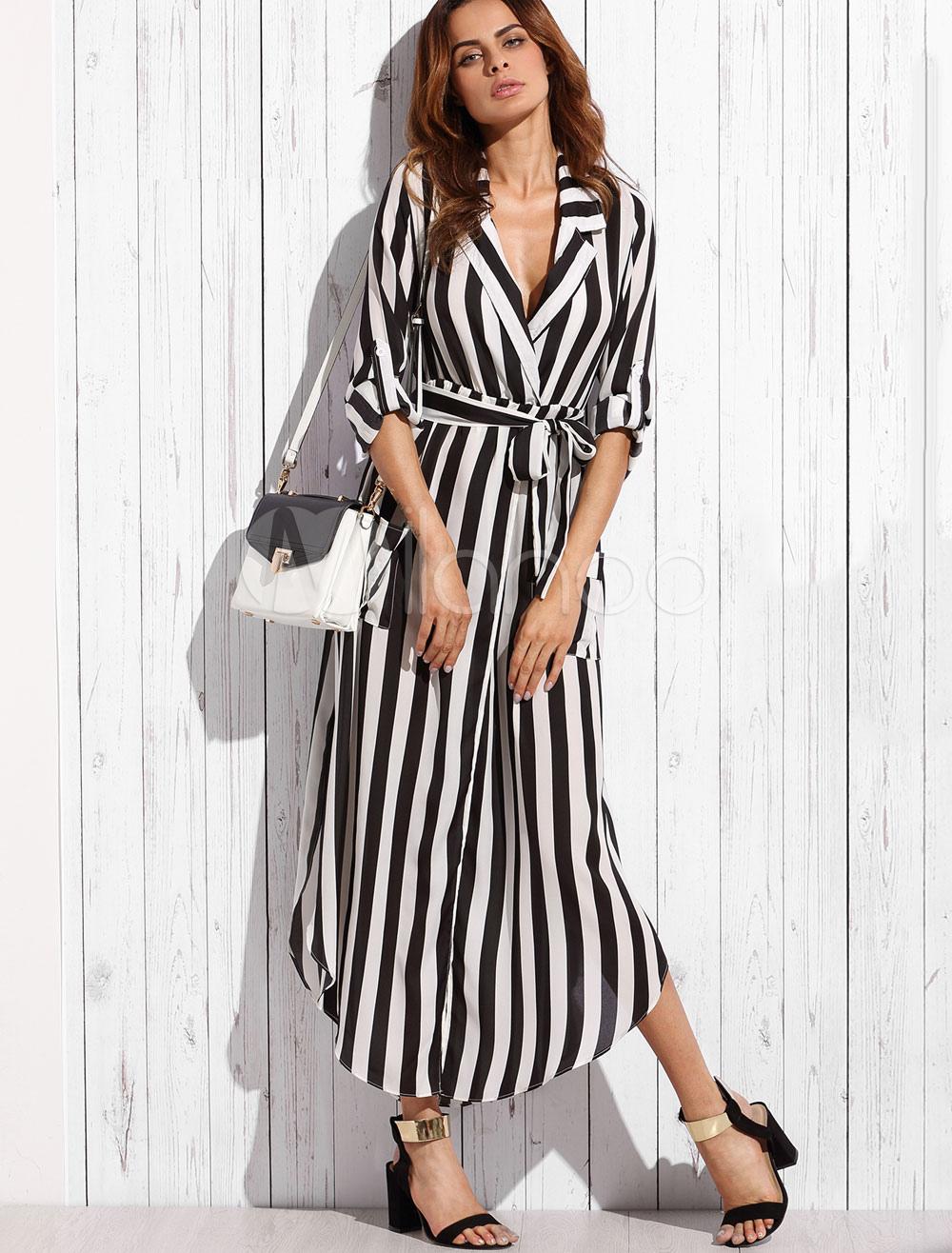 5b93df941cc Chiffon Maxi Dress Black Turndown Collar Long Sleeve Striped Shirt Dress  With Sash-No. 12. 30%OFF. Color Black