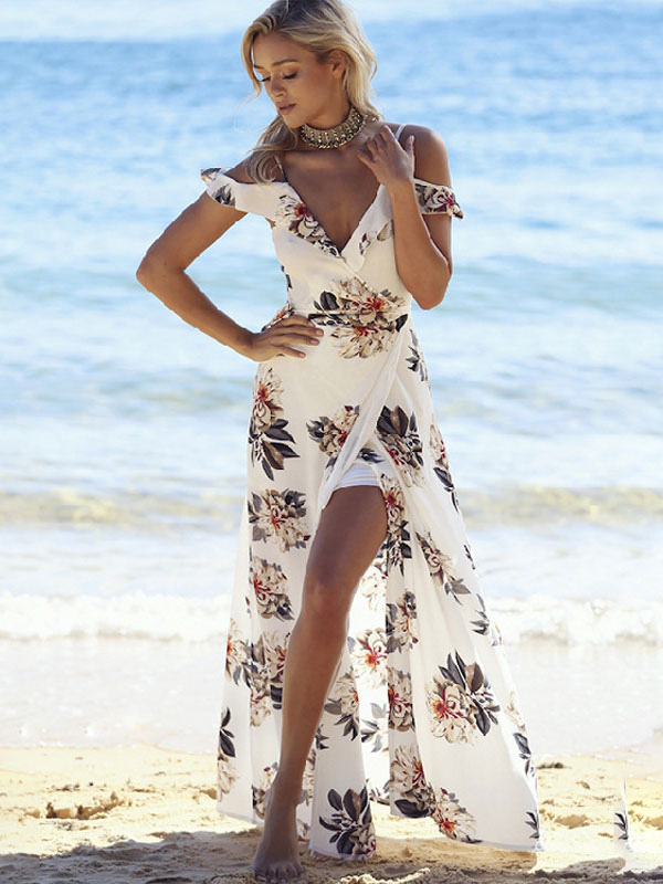 a6162e46d8 ... Boho Maxi Dress Chiffon Tea Dress V Neck Ruffle Short Sleeve Floral  Printed Slit Summer Dress
