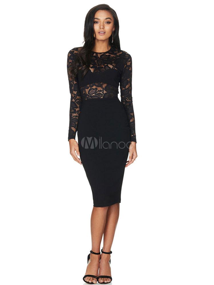 Black Bodycon Dress Round Neck Long Sleeve Lace Patchwork Slim Fit Sheath Dress