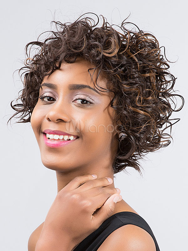 Buy Short Hair Wigs African American Deep Brown Curly Synthetic Wigs for $24.83 in Milanoo store