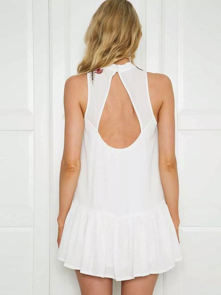 60e5ff91ffaa Vestito estivo bianco ricamato abito corto rosa buco della serratura per le  donne-No.