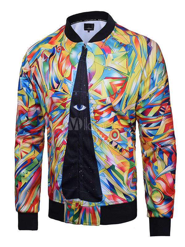 Men Short Jacket Multicolor Stand Collar Long Sleeve Spring Jacket Print Zip Up Bomber Jacket