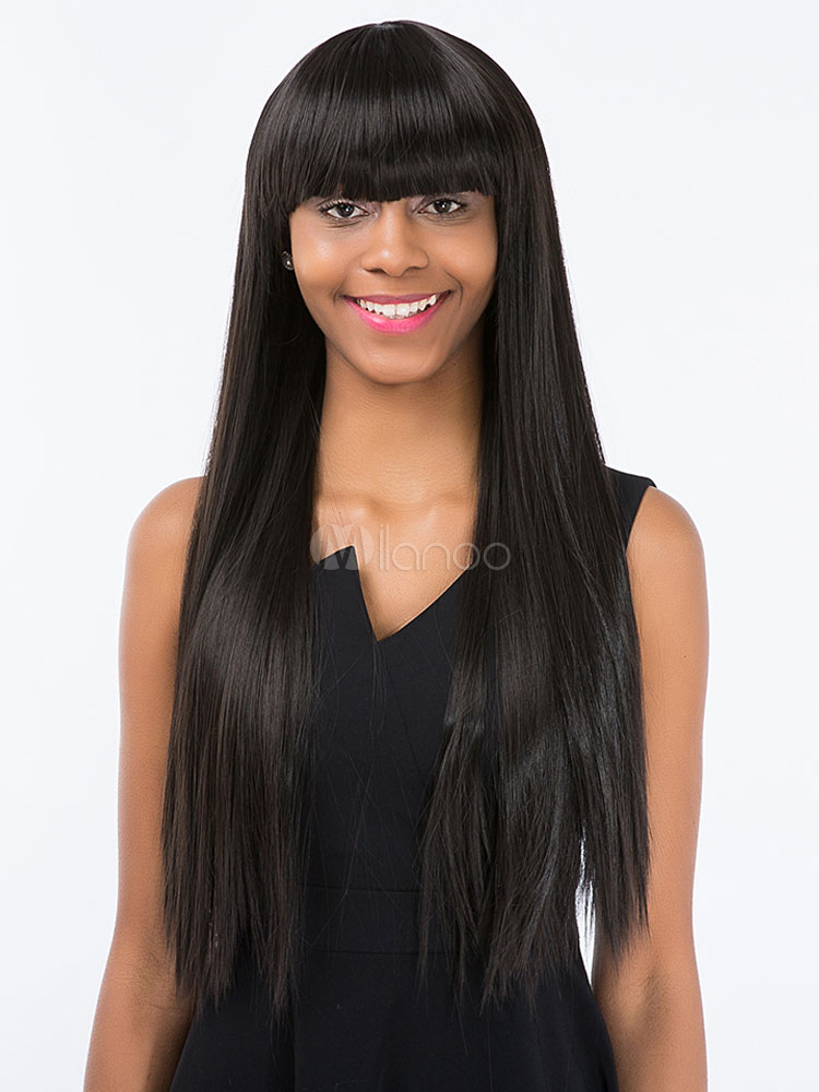 Buy Black Hair Wigs African American Long Straight Synthetic Wigs With Bangs for $13.49 in Milanoo store