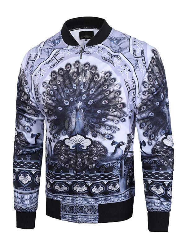 Men's Bomber Jacket Light Blue Stand Collar Long Sleeve Peacock Printed Short Jacket