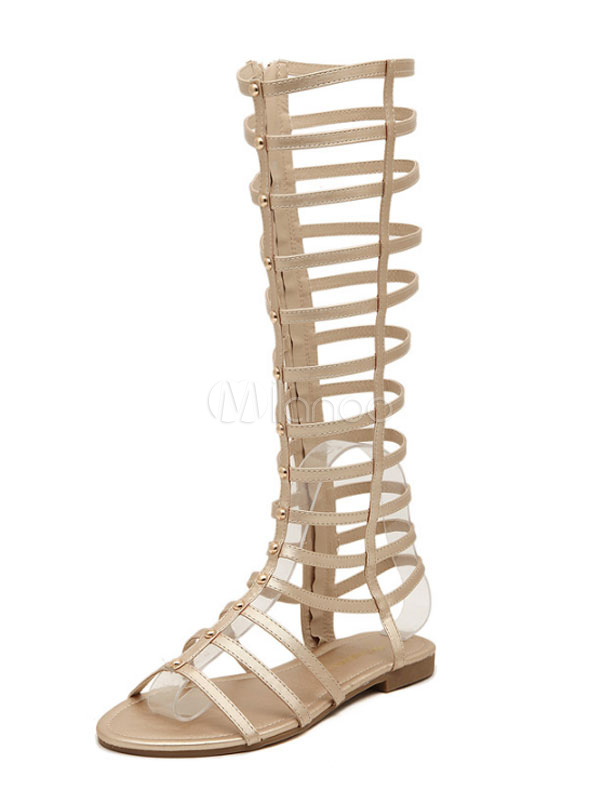 002e108a2ad6 Gold Gladiator Sandals Women s Zip Up Wide Calf Sandal Shoes-No. ...