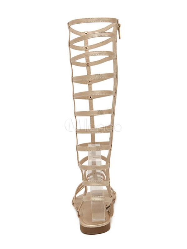 460e53ce3e66 ... Gold Gladiator Sandals Women s Zip Up Wide Calf Sandal Shoes-No.3