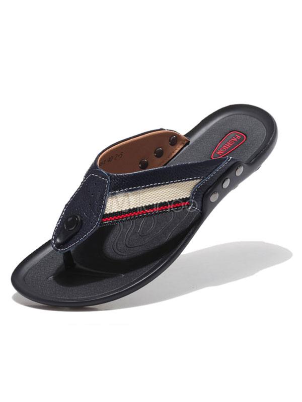 bequeme sommerschuhe aus rindleder mit flickwerk in dunkelblau sandale mit zehenriemchen anti. Black Bedroom Furniture Sets. Home Design Ideas