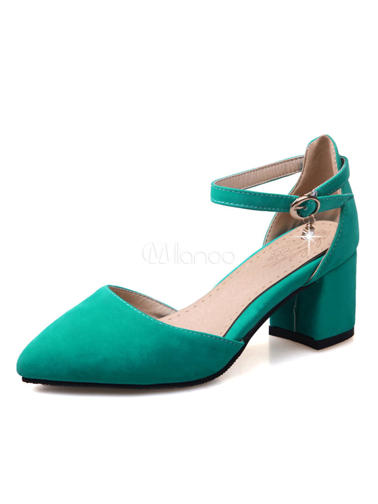 4a1d616fe Pointed Toe Heels Suede Chunky Heel Women's Green Ankle Strap Pump Shoes-No.  ...