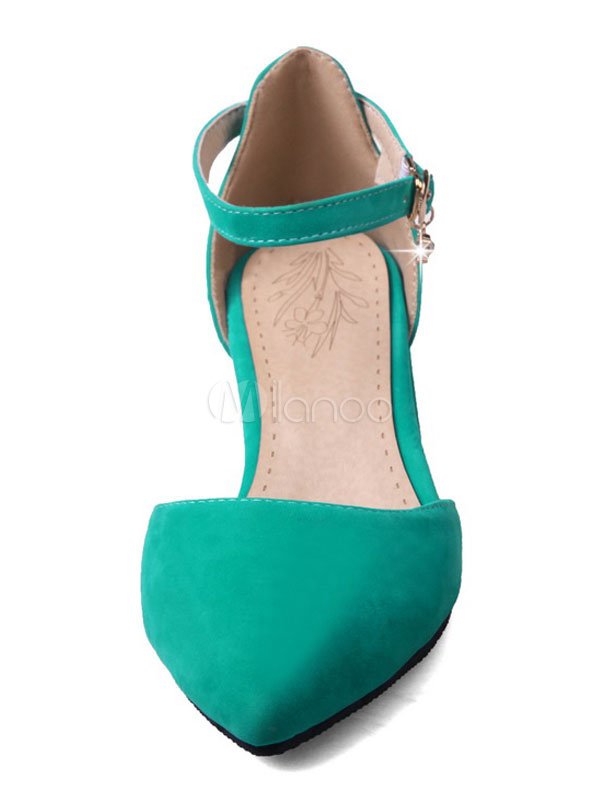 487035369 ... Pointed Toe Heels Suede Chunky Heel Women's Green Ankle Strap Pump Shoes-No.  ...