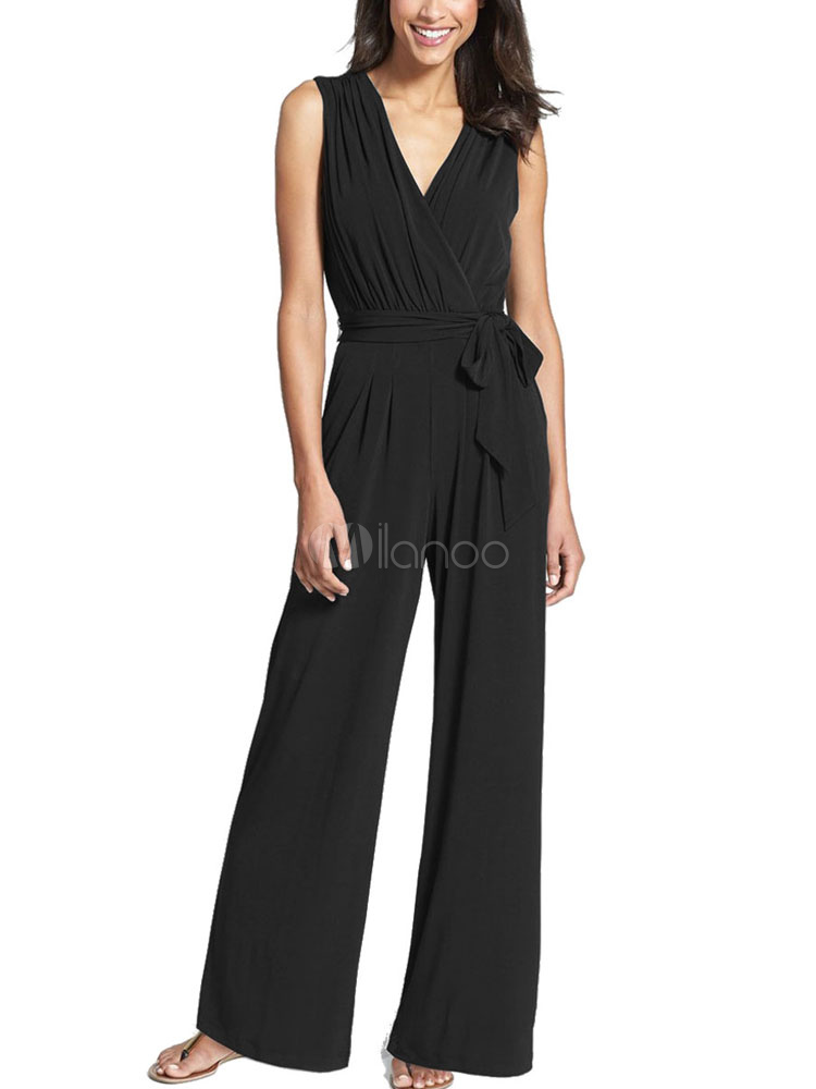 Women's Black Jumpsuit V Neck Sleeveless Waist Tie Wide Leg Chic Jumpsuit With Belt
