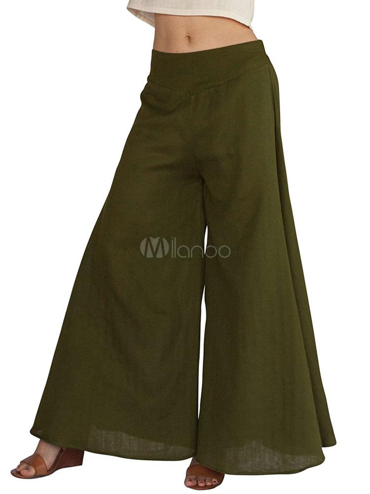 4df54b6a0c Women's Long Culottes High Waisted Elastic Waist Hunter Green Wide Leg Pants-No.  ...