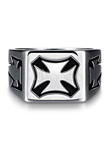 Buy Men's Silver Ring Punk Stainless Steel Crusade Emblem Carvings Chic Ring for $12.74 in Milanoo store