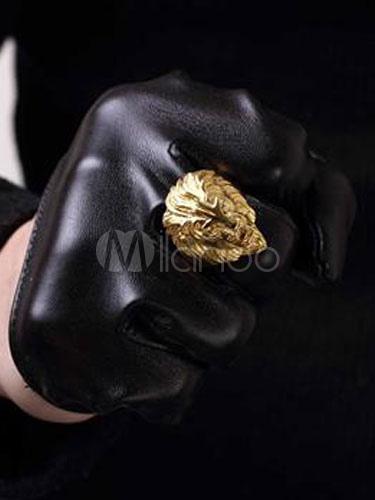 Men's Gold Ring Line Head Vintage Rings