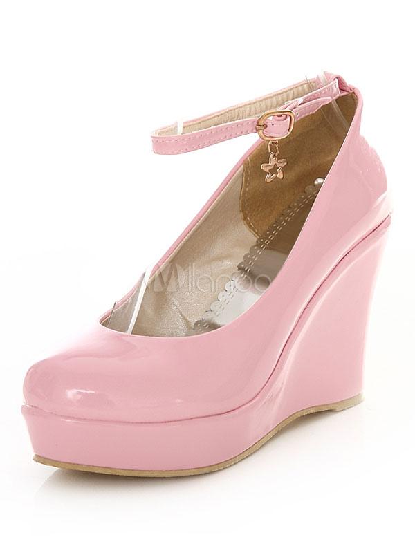 Pink Wedge Shoes Platform Women's Round