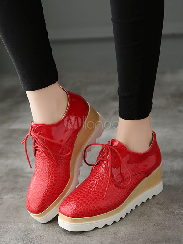 3fa5cc7065 ... Black Oxford Shoes Women's PU Square Toe Lace Up Platform Sneakers-No.  ...