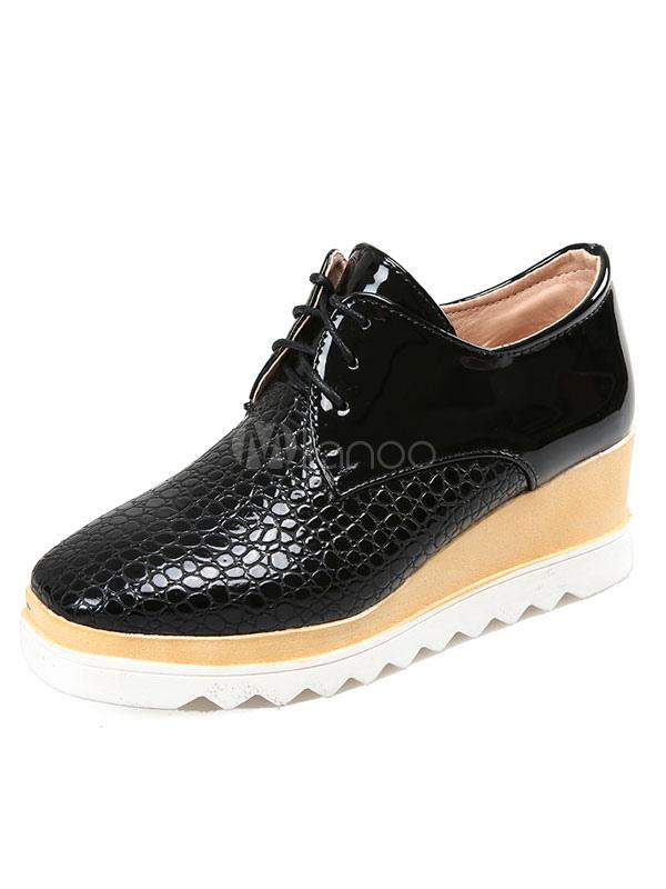 fe506b01e3 Black Oxford Shoes Women's PU Square Toe Lace Up Platform Sneakers-No. ...