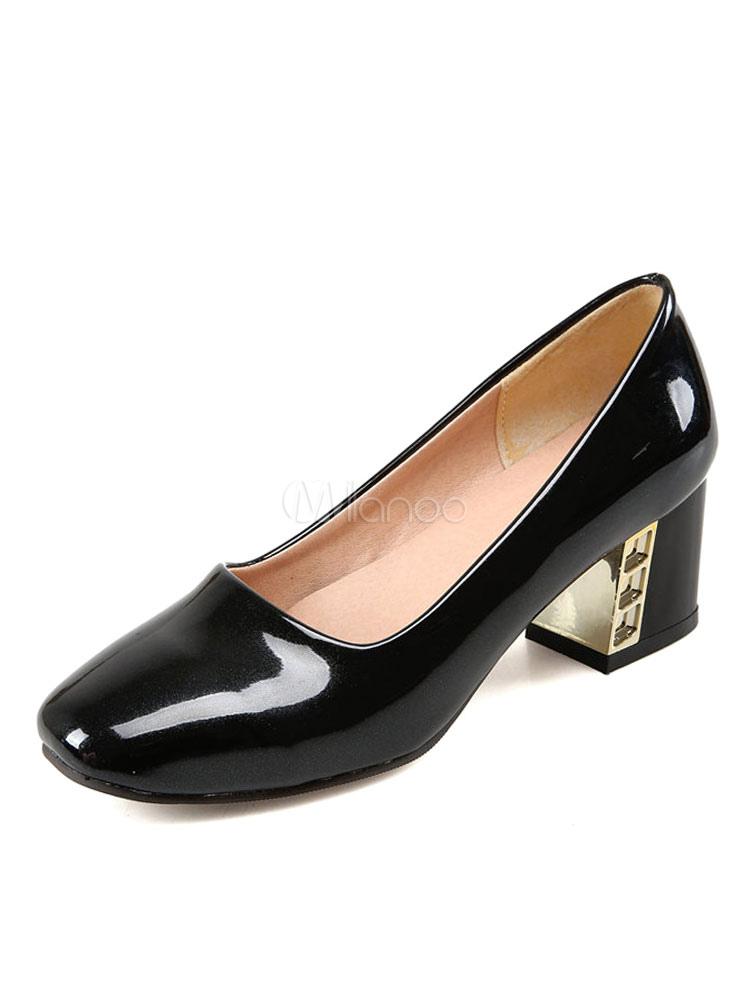 Zapatos de tacón medio estilo moderno para fiesta de tacón gordo de PU de puntera cuadrada ExPfixSFPP