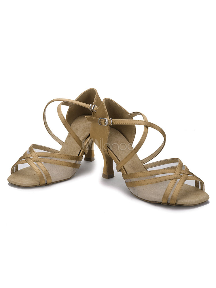 Milanoo / Brown Ballroom Shoes Women's High Heel Latin Dance Shoes