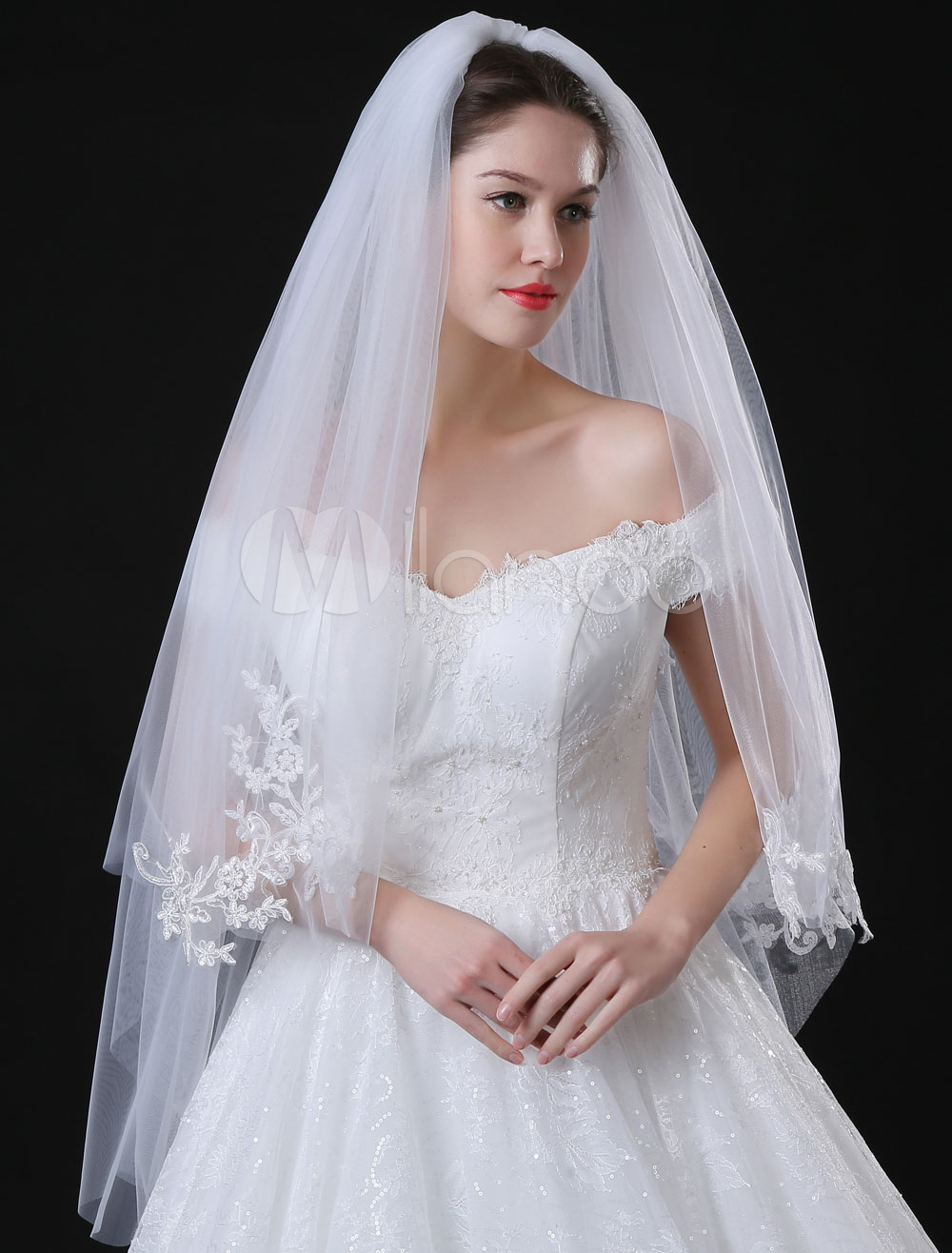 Buy Tulle Wedding Veil Ivory Lace Applique Edge Two Tier Bridal Veil for $15.99 in Milanoo store