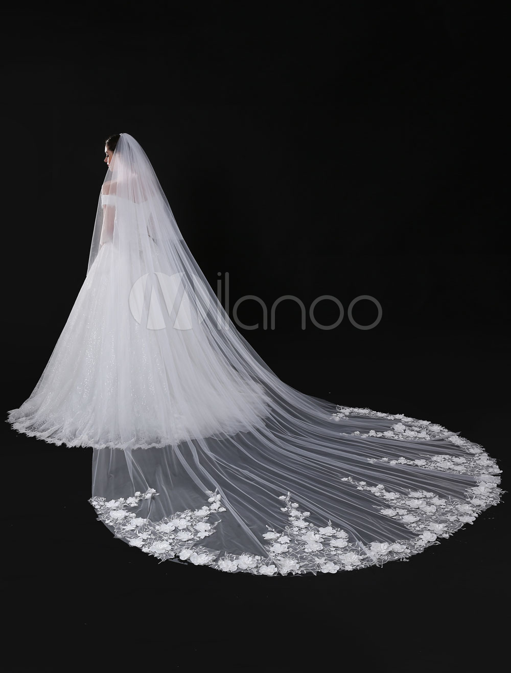 Buy Tulle Wedding Veil Ivory Cathedral 3D Flower Lace Applique Bridal Veil for $89.99 in Milanoo store