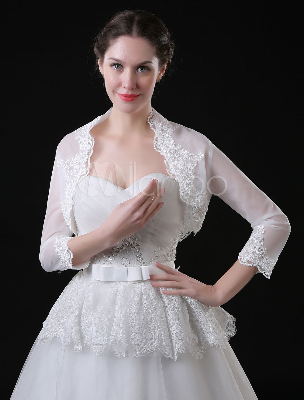 Wedding Bolero Jacket 3/4 Sleeve Lace Applique Bridal Top Cover Ups
