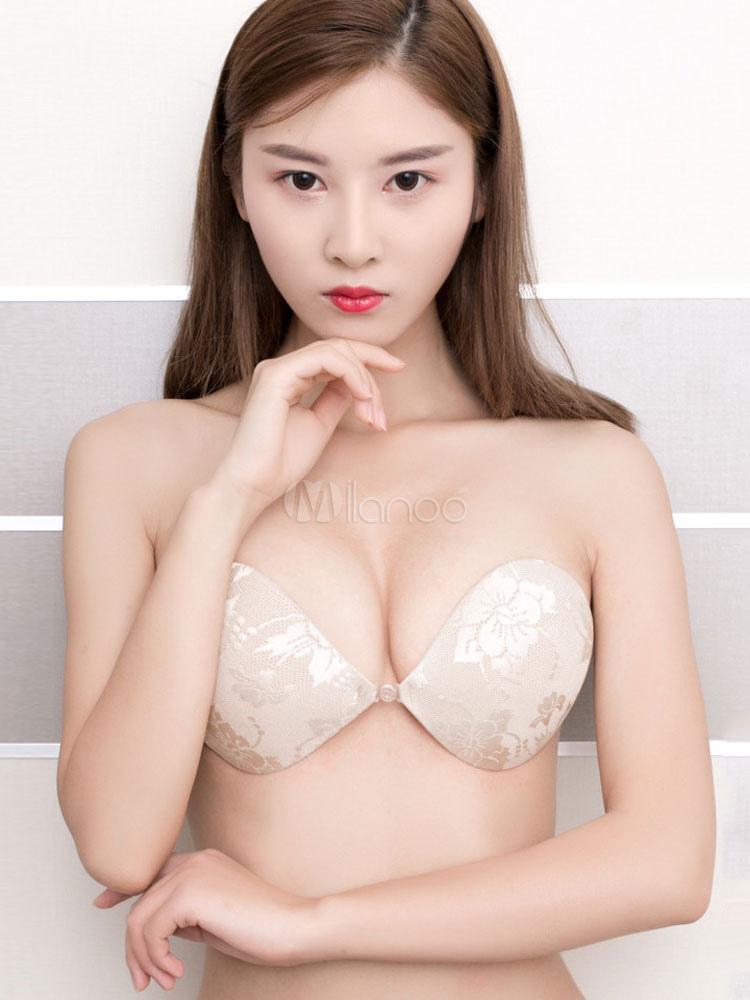 Women's Beige Nubra Jacquard Wireless Women's Sexy Invisible Bra
