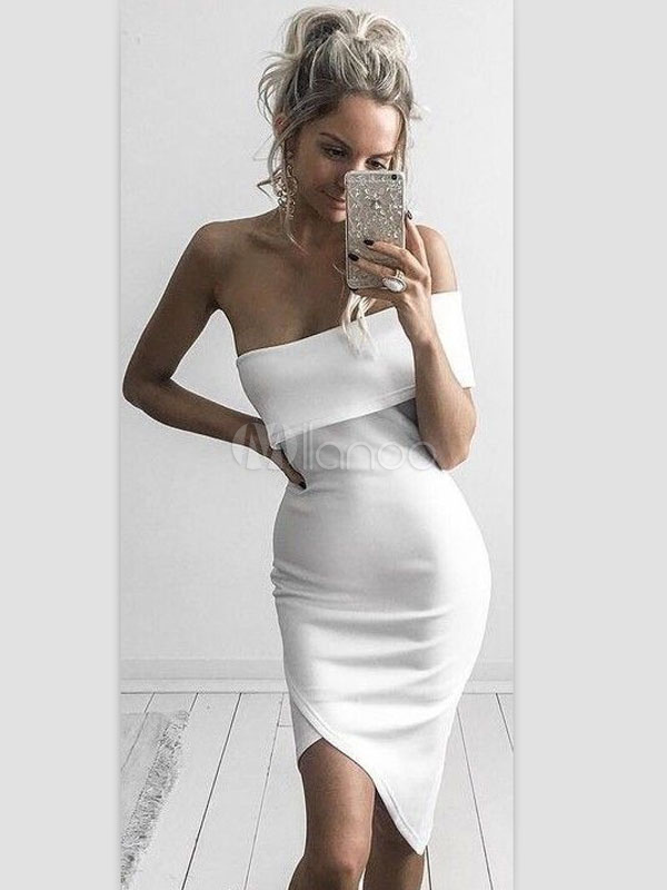 Bodycon White Dress One Shoulder Asymmetrical Women's Sheath Party Dresses Cheap clothes, free shipping worldwide