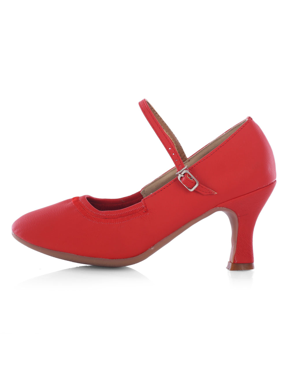 Buy Women's Ballroom Shoes Red Round Toe Mary Jane Strap Chunky Heel Latin Dance Shoes for $20.99 in Milanoo store